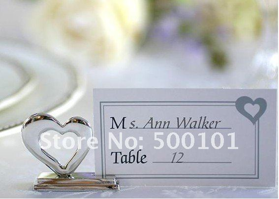 100pcs lot love heart place card holder placecard holders silver color wedding favor gift party decoration Free Shipping in Party Direction Signs from Home Garden