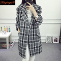 King Bright Brand 2016 New Trench Coat Women Turn Down Collar Plus Size S-4XL Women Trench Coat Oversize Plaid Trench Coat Femme