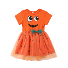Girl Princess Flower Dress Halloween Pumpkin Costume