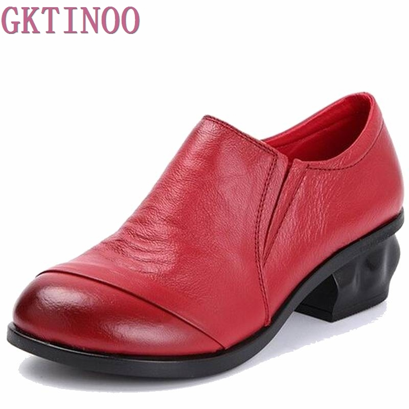 2018 Genuine Leather Women Shoes Thick Med Heels Work Dress Shoes Spring Autumn Pumps Women Size 41 aiyuqi big size 41 42 43 women s comfortable shoes 2018 new spring leather shoes dress professional work mother shoes women