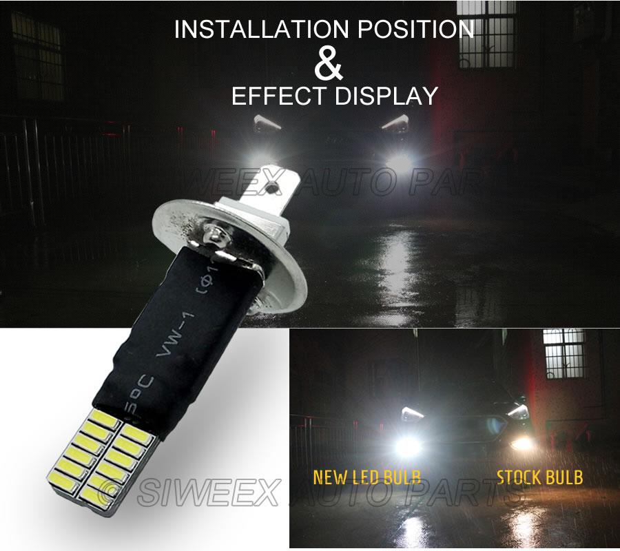 1x H1 P 14,5 S 24 4014 SMD Auto Auto Led-lampen Ersatz Auto Nebel Lampe Treibendes licht Weiß Für DC 12V