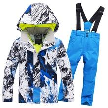 Лидер продаж года, брендовый лыжный костюм для мальчиков и девочек, комплект из водонепроницаемых штанов и куртки, зимняя спортивная утепленная одежда, детские лыжные костюмы-30
