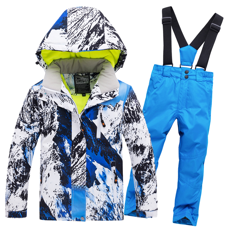 2019 Hot Sale Brand Boys/Girls Ski Suit Waterproof Pants+Jacket Set Winter Sports Thickened Clothes Children's Ski Suits -30