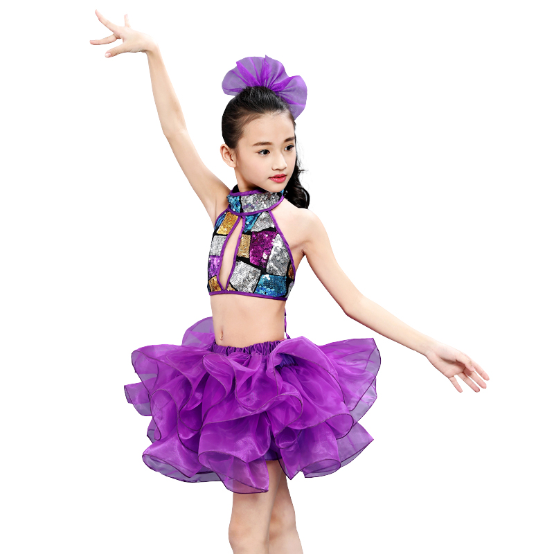 c95244b79a New Children Purple Skirt Dance Costumes for Girls Kids Child Sequin  Competition Jazz Stage Performance Clothing-in Ballet from Novelty    Special Use on ...