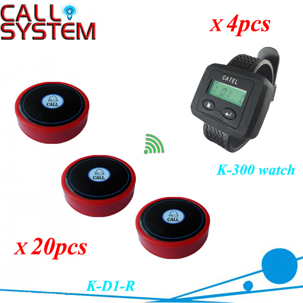 Service call bell pager system k-300 wrist watch receiver and 20pcs table buzzer button with single-key restaurant pager watch wireless call buzzer system work with 3 pcs wrist watch and 25pcs waitress bell button p h4