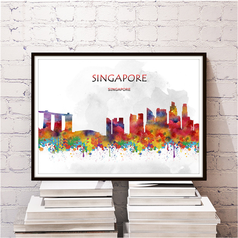 Famous City SINGAPORE Poster Home Living Room Bedroom Cafe Bar Decor Wall Sticker Print Painting Kraft
