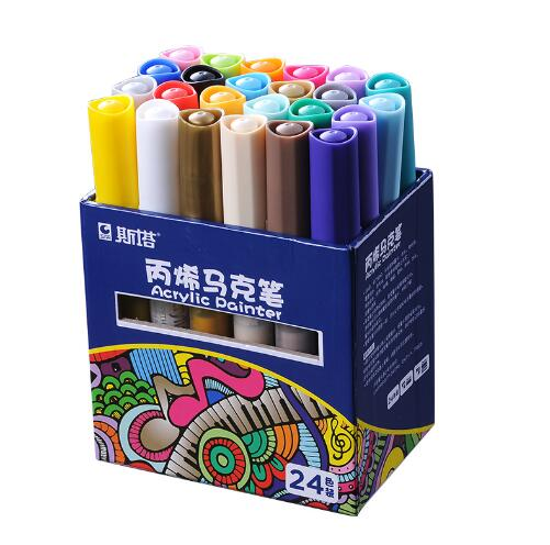 24 Colors Acrylic Paint Marker Sketch Stationery Set For DIY Manga Drawing Marker Pen School Student Painter Supplies bianyo 20 colors artist sketch marker pen set for school student drawing painting brush pen watercolor manga marker art supplies