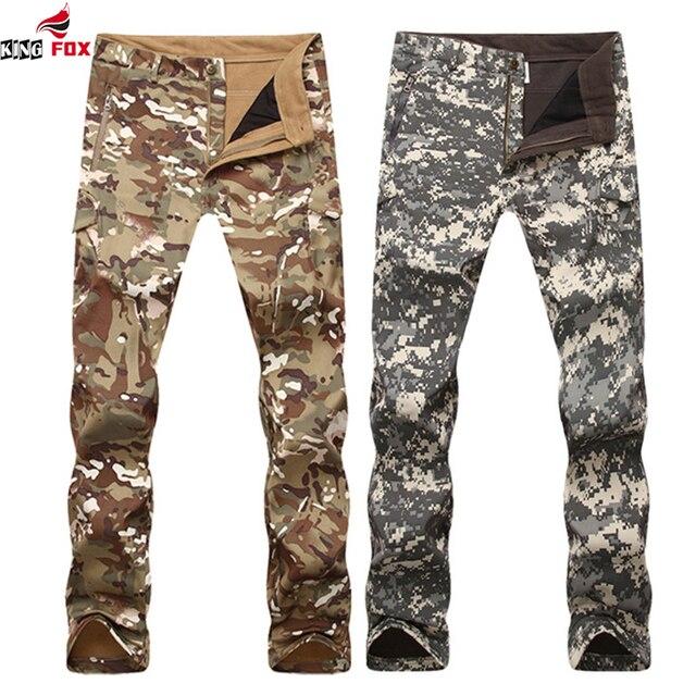 Новая мода пиджаки softshell руно теплая зима мужчины Дышащая водонепроницаемая Одежда Камуфляж брюки брюки LO2405