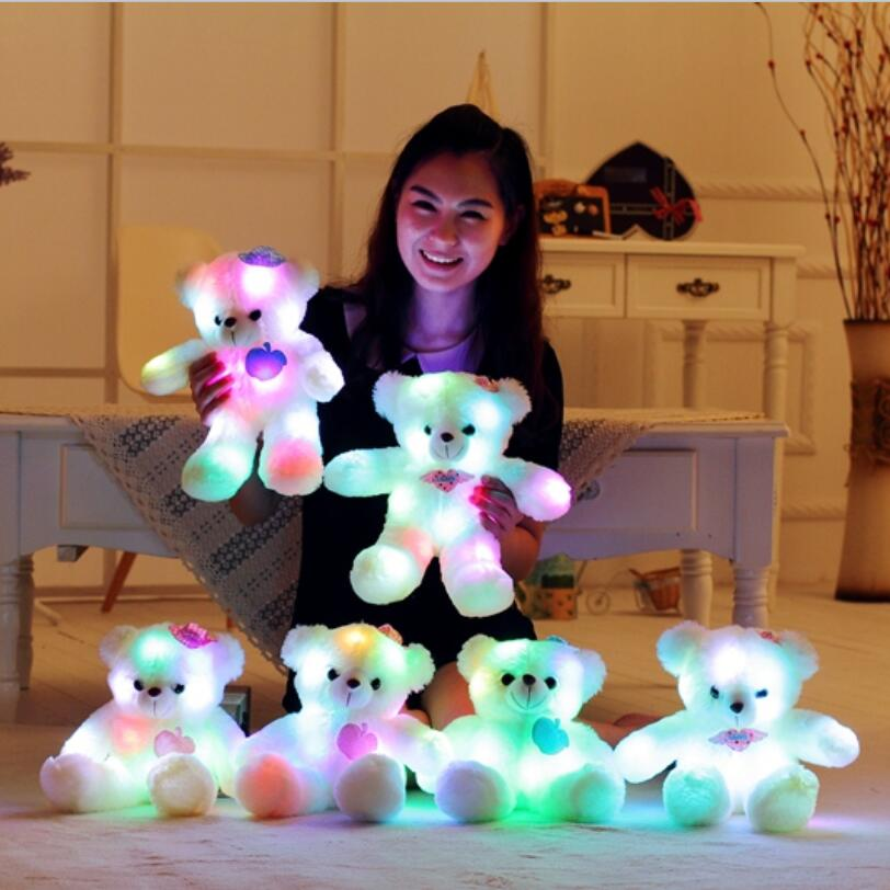 38cm Creative Light Up LED Teddy Bear Stuffed Animals Plush Toy Colorful Glowing Teddy Bear Christmas Gift for Kids creative mushroom kids gift rainbow colorful led night light boon glowing led lamp with removable balls children sleeping toy