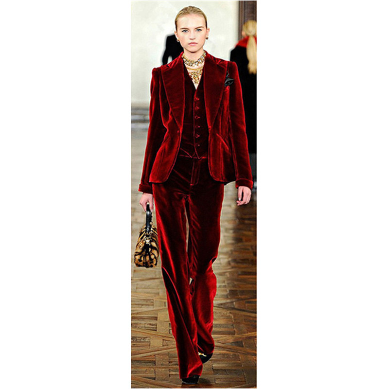 Wine Red Velvet Elegant Pant Suits Costumes for Women Office Business Suits Formal Work Wear 3 Piece Sets Office Uniform Styles