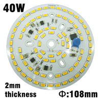 40w Led Lamp Plate 108mm 2mm Thickness Integrated Driver Pcb AC220v 5730 Aluminum Plate Warm White