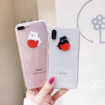 Transparent Cute Lovely Cat Soft Phone Case For iphoneX 6 6s 6plus 7 7plus 8 8plus