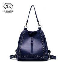 Kuluosidi известный бренд мода кожаный рюкзак Для женщин заклепки школьная сумка для подростков Обувь для девочек дамы Повседневное сумка женская Рюкзаки