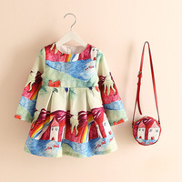 Brand New Girl Dress Casual Half Sleeve Kids Clothes 2015 Spring Summer Children Dress Princess Floral