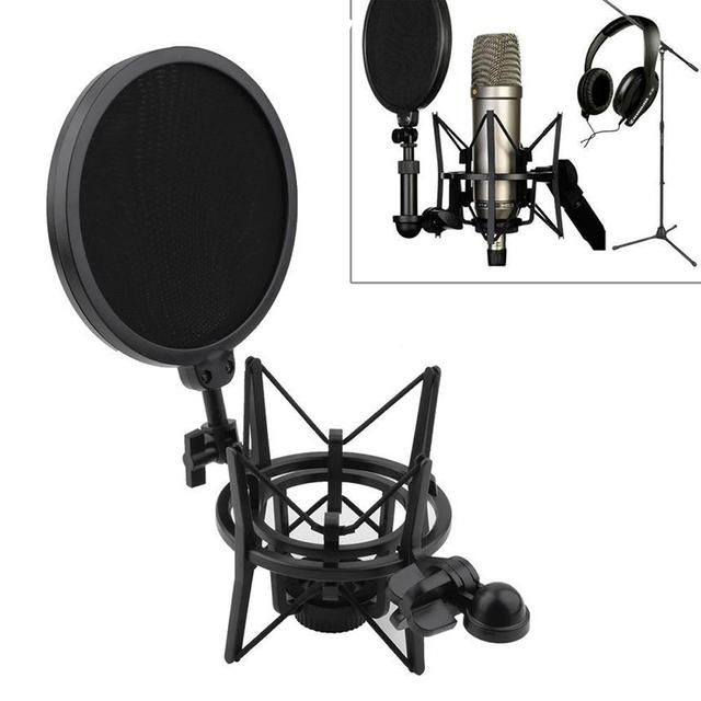 Nova de Áudio Profissional Condensador Sound Studio de Gravação Microfone Mic W Montagem de Choque