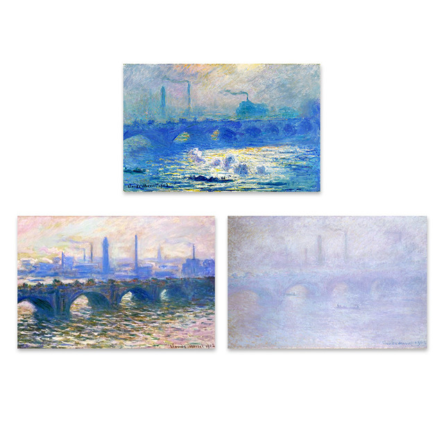 Claude Monet Waterloo Most Impresjonizm Krajobraz Tryptyk A4 Big
