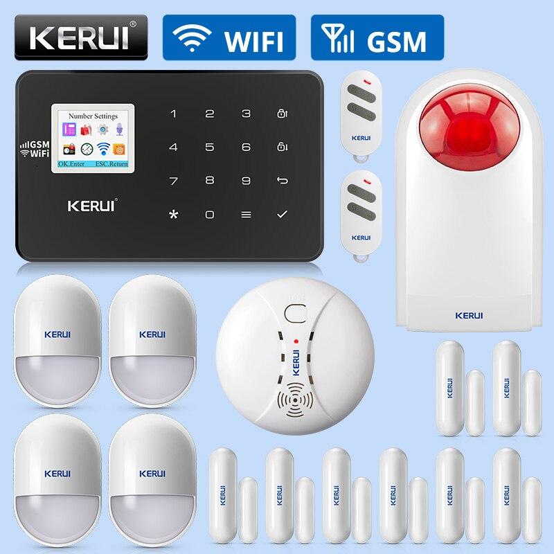 KERUI W18 alarme de sécurité à domicile sans fil système Wifi GSM APP contrôle détection de fumée détecteur de gaz dispositif d'alarme Kit combiné