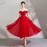 Walk Beside You Red Evening Dresses Teal Length Tulle Flowing Beach Sequined Appliques Off Shoulder Rose Prom Gowns Formal Party