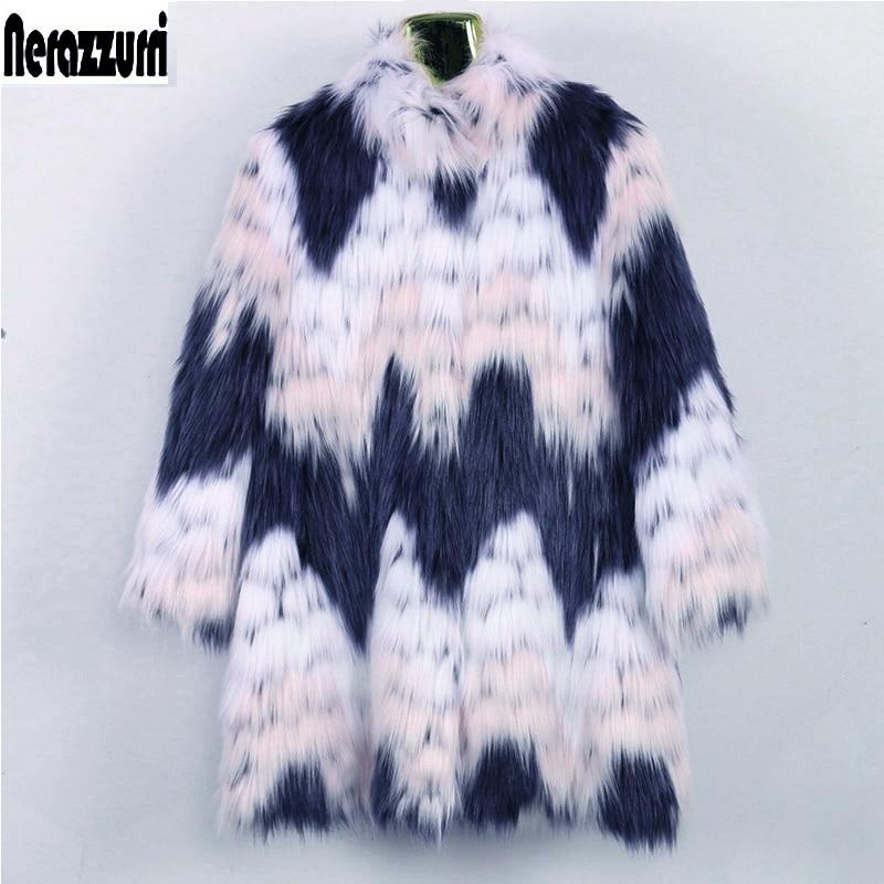 Nerazzurri, женское осенне зимнее теплое пушистое пальто из искусственного меха, элегантное меховое пальто, женская цветная верхняя одежда большого размера 6xl 7xl