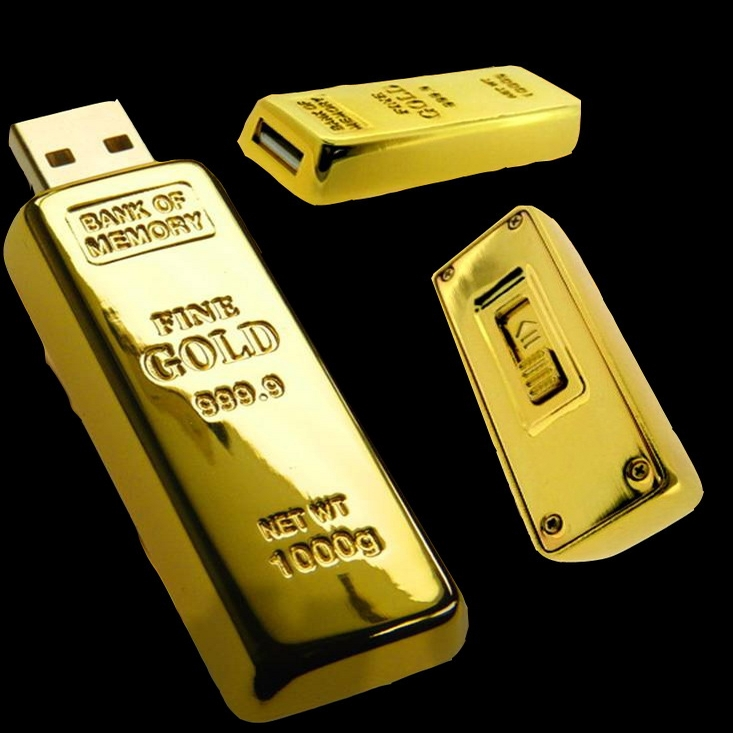 Gold Bar 2.0 Usb Creativo 128GB 16GB 32GB Usb 2TB Flash Drive Metal Key Pen Drive 64GB Pendrive 1TB Flash Memory Stick Man Gift
