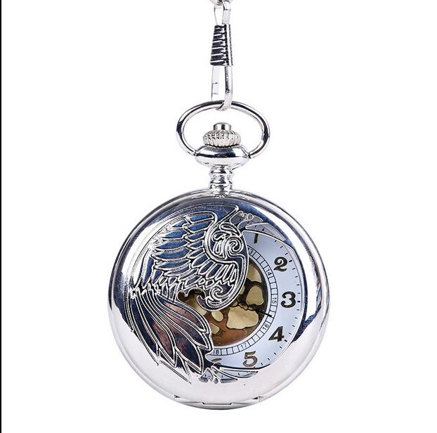 Fashion Phoenix Wing Hollow Silver Case Men And Women Watch Gift Pocket Watch PPO5688