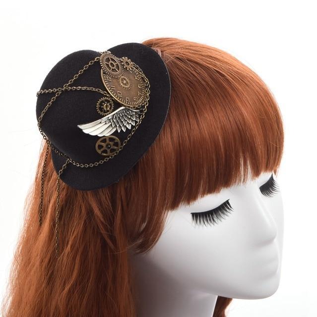 14bfb80a03a78 Retro Victorian Steampunk Mini Top Hat Hairclip Gothic Gears Wing Chain  Head Wear