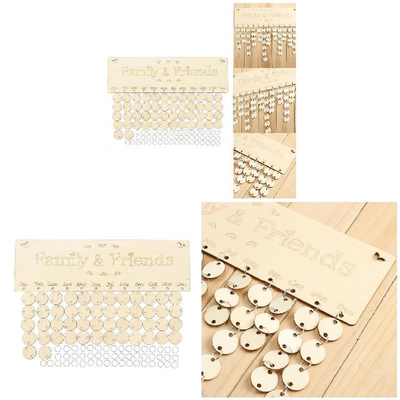 Wooden Sign Board Fashion Home Hanging Decoration DIY Calendar Tags