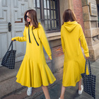 Cotton Hooded Yellow Dresses for Women Bright Color Casual Girls Woman Hoodies Dress Clothing