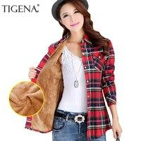 TIGENA Warm Velvet Checked Shirt Women 2018 Winter Women Blouse Femininas Feminine Shirt Female Plaid Shirt