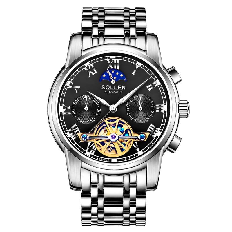 где купить SOLLEN Tourbillon Watches Mens Automatic Watch Men Luxury Brand Famous Stainless Steel Mechanical Watch Relogio Masculino по лучшей цене