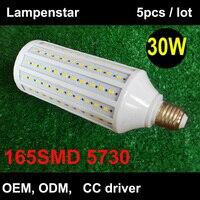 360 Degree Super Bright 165pcs SMD5630 30W LED Bulb E27 3000lm Corn Light AC85 265V AC220V