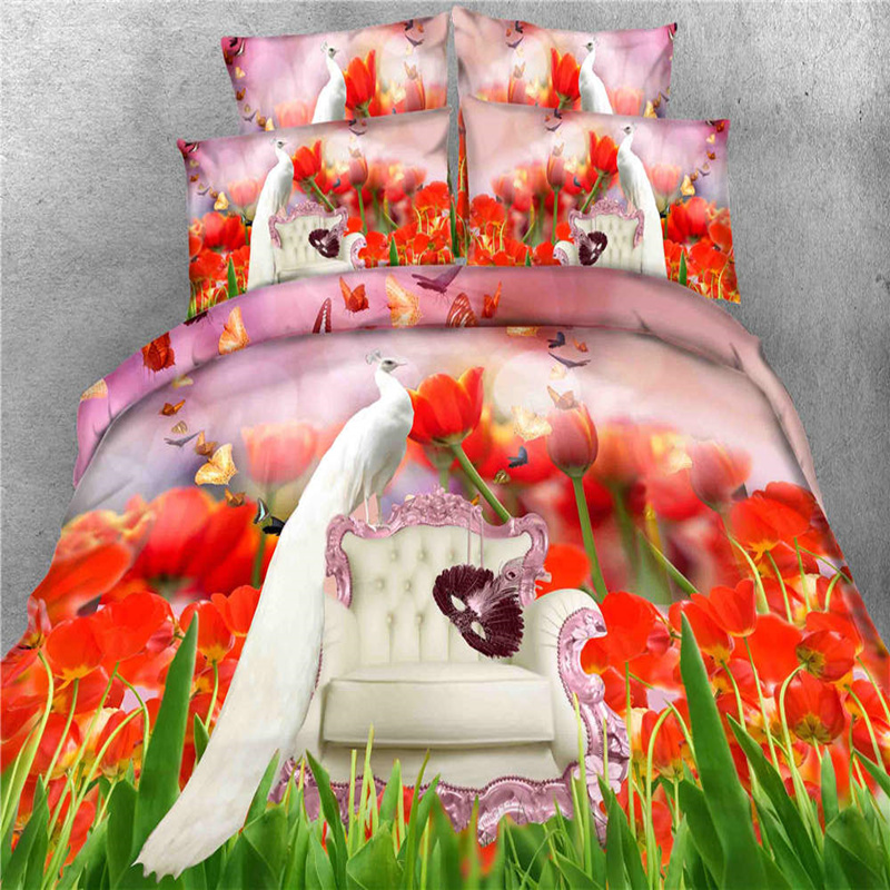 3d Printed Peacock Flowers Quilt Duvet Cover Bright Color Bedding