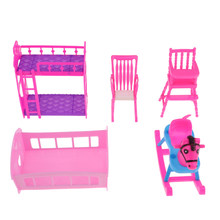 5Pcs Dolls House Mini Rocking Horse Bunk Bed Single Bed Dining Chair Model for Doll Hot Toys Accessories Gifts(China)