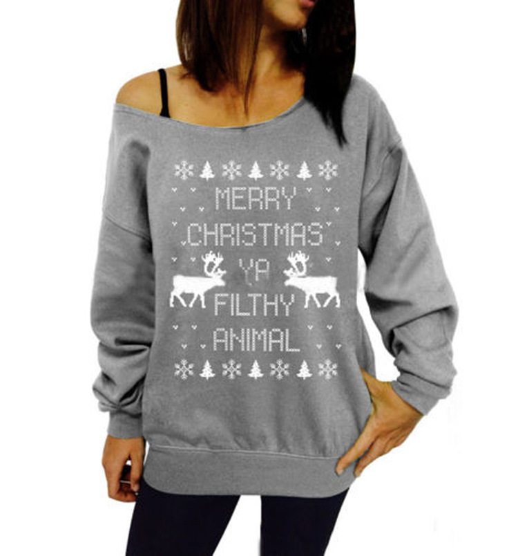 de5e71144 Women's Merry Christmas Ya Filthy Animal Off the Shoulder Sweatshirt 238-in  Hoodies from Mother & Kids on Aliexpress.com | Alibaba Group