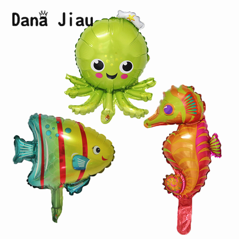 Милые мини-Воздушные шары осьминога в виде рыбы, морской лошади, вечерние шары на день рождения, украшение для ужина, воздушный шар для океан...