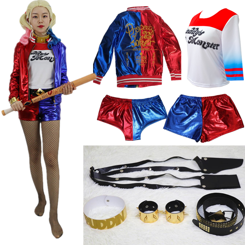 Suicide Squad Harley Quinn Cosplay Costume Coat Jacket Top T-shirt Shorts Belt Accessory Collar Bracelet Golve