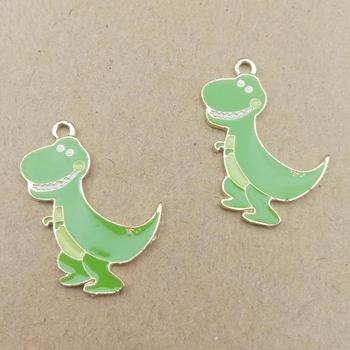 10pcs 19x28mm enamel dinosaur charm for jewelry making and crafting fashion earring charms animal pendants 1