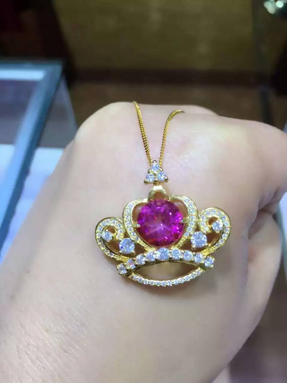 natural pink stone pendant S925 silver Natural gemstone Pendant Necklace trendy Elegant cute crown women party fine jewelry цена 2017