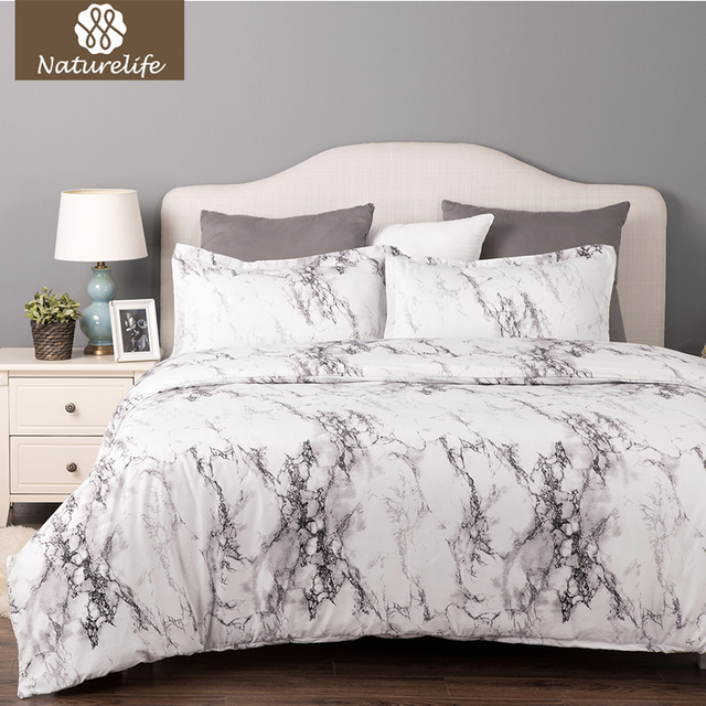 Delightful Naturelife Luxury Soft Printed Marble Pattern 2/3pcs Duvet Cover Bed Sheet  Elegant Hypoallergenic Microfiber