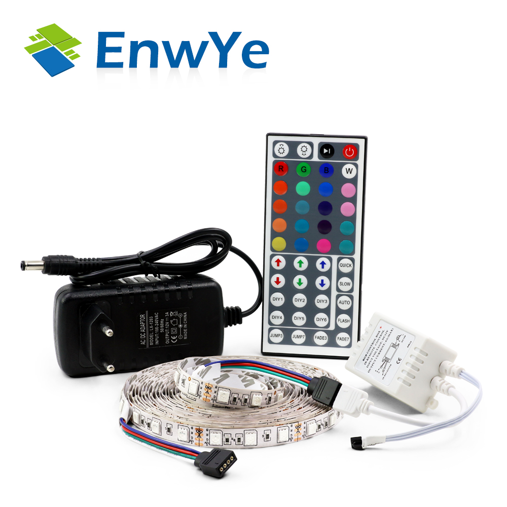 EnwYe 5050 RGB LED Strip Waterproof 5M 300LED DC 12V LED Light Strips Flexible Neon Tape Add Remote and 3A 36W Power