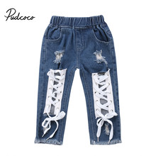 2018 Brand New Toddler Infant Child Kids Baby Boys Girls Bandage Denim Long Pants Jeans Trousers Hole Ripped Bottoms 1-6T(China)