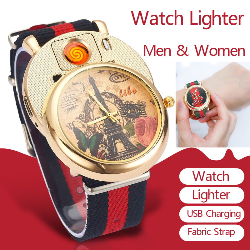 Rechargeable Flameless USB Lighter Men's Quartz Wristwatches Fabric Nylon Watchband relogio masculino Cigarette Lighter Watches ckeyin flameless windproof cigarette lighter watches relogio masculino rechargeable usb lighter men s quartz wristwatches 47