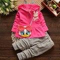 2016 Nueva ropa de Bebé Niñas establece Niños hoodies del otoño del resorte ropa de los cabritos determinados Traje de Deporte Del Chándal Set Coat + Bebé pantalones + bolsa