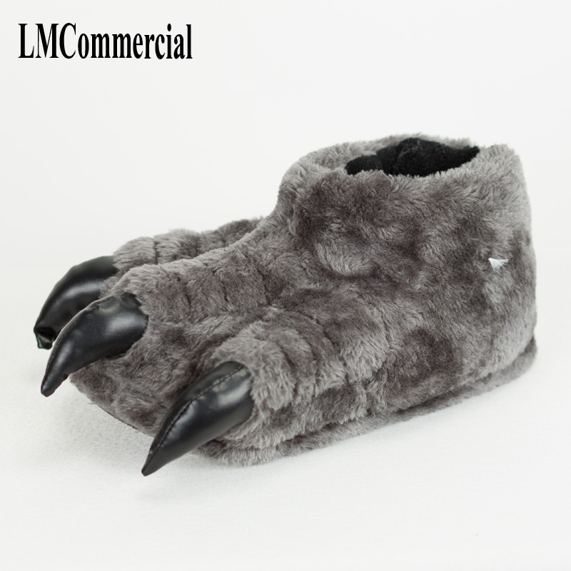 Indoor Slippers Special offer custom a warm winter home claws slippers thick hard bottom shoes on floor lovers shoes