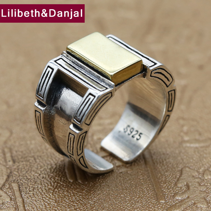 Opening Ring 100% Real 925 Sterling Silver Jewelry For Men Women Creativity Vintage Adjustable Ring  New Arrival FR105-in Rings from Jewelry & Accessories