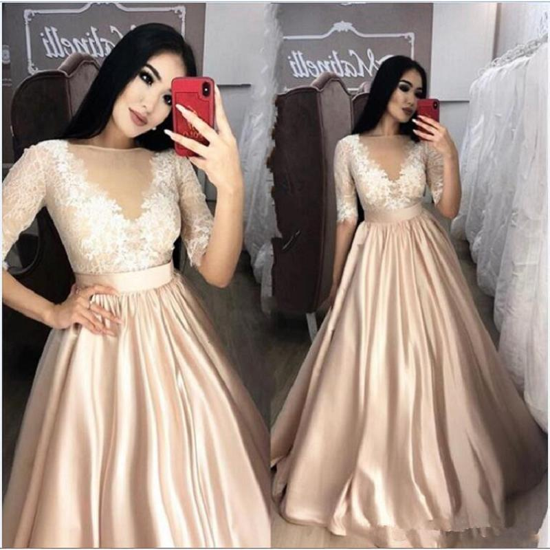 Abendkleider Lang Champagne   Evening     Dresses   With Sleeves 2019 Sheer Applique Lace Prom Gowns Formal Women Pageant Party   Dress