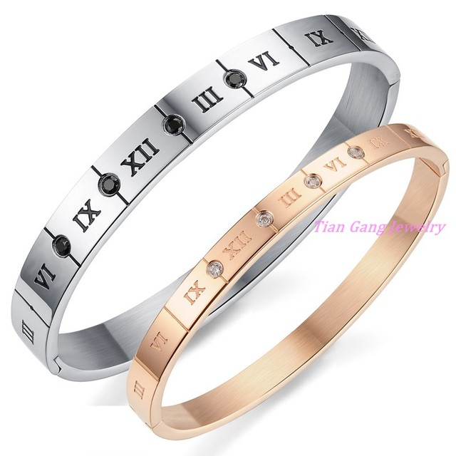 Romantic Silver Gold Plated Couple Bracelets Stainless Steel With Charm Top CZ Roman Numeral Bracelet Men Women Wedding Jewelry