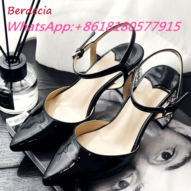 Berdecia Chunky High Heels Pointed Toe Woman Sandals Ankle Strap Party Shoes Woman Summer Fashion Metal Decoration Sapato Mujer