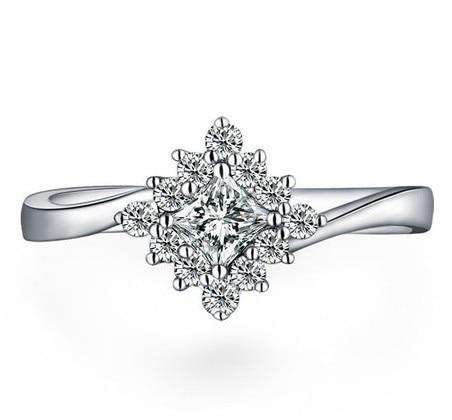 Gvbori 18 K Wit Goud Vierkante Diamond Ring Voor Vrouwen