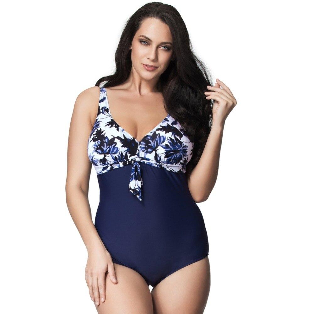 ФОТО women swimwear 2016  Navy big flower print fabric one piece swimsuit large size plus size swimwear  women bathing suit